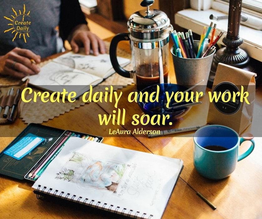 Daily creating will lead to discoveries that lead to greater creativity and opportunities. #inspiration #work #DIY #quotes #goals #motivational