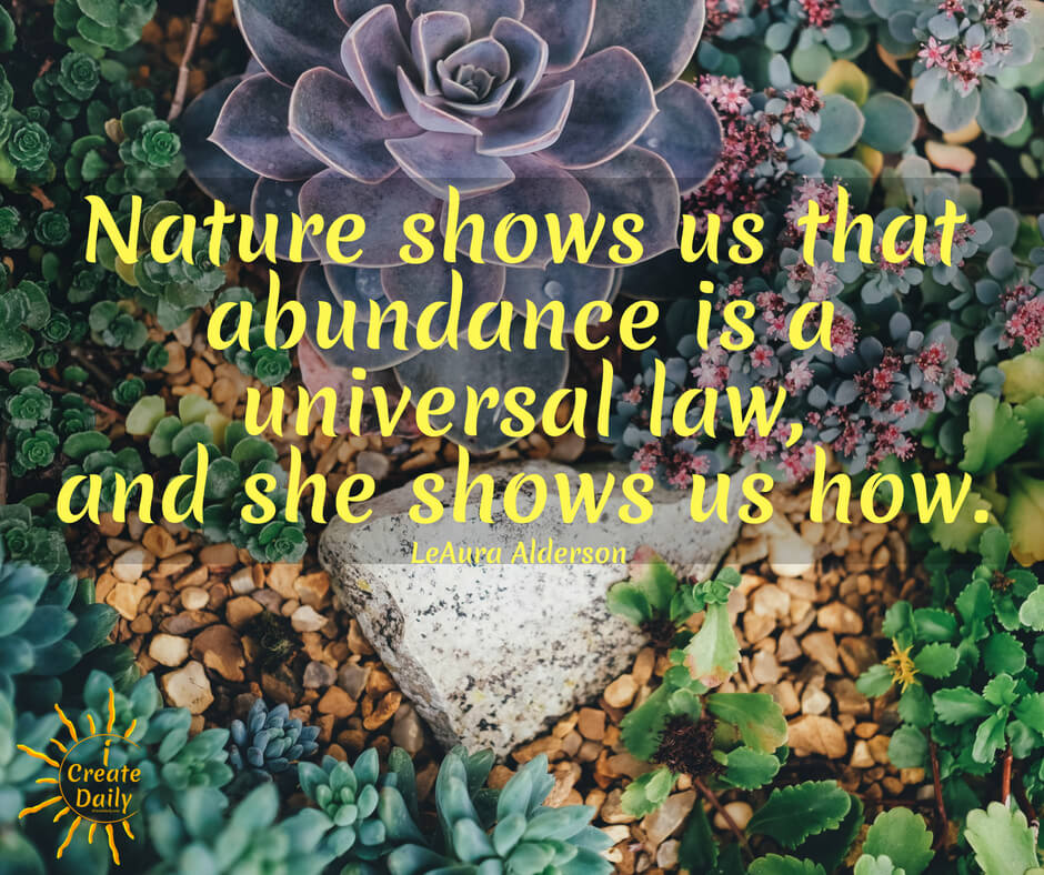 CREATIVITY AND THE LAW OF ABUNDANCE. Nature shows us that abundance is a universal law everywhere to be gleaned, observed and replicated. #LawOfAbundance #Abundance #Nature #LawOfAttraction #AbundanceQuote #AttractionQuote #iCreateDaily #Creators #LawOfAttractionQuote