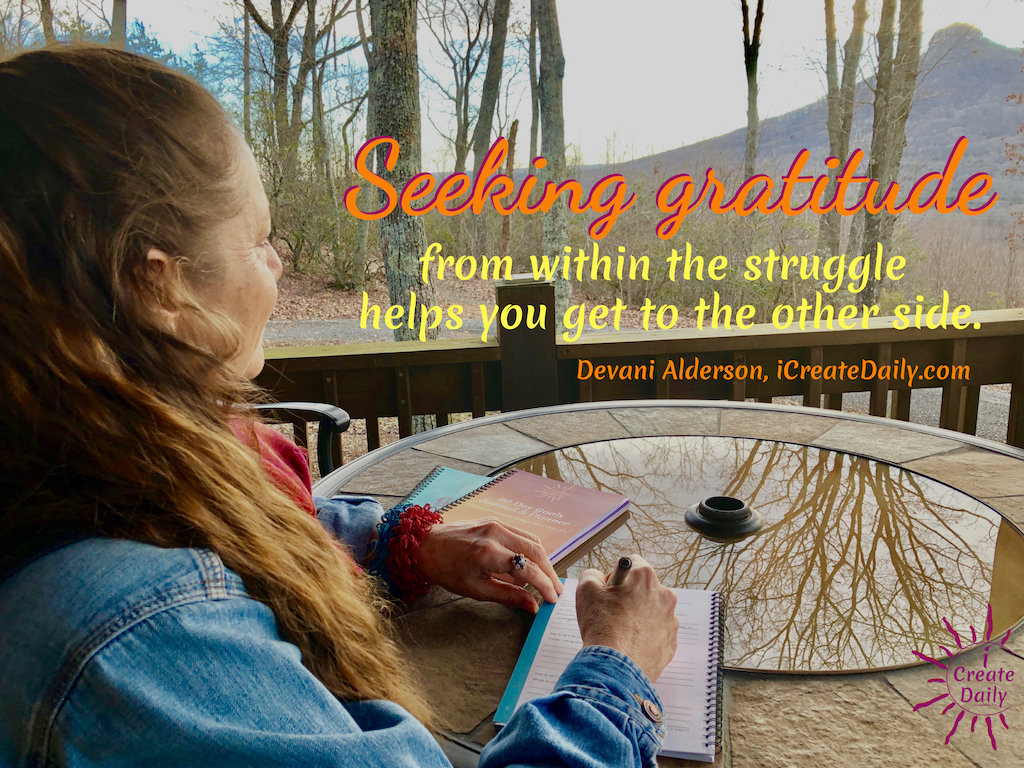 Seeking gratitude from within the struggle. Hold yourself accountable to finding the joy in the journey... and you will find it. #Gratitude #GratitudeQuote #Struggle #inspiration #Perspective