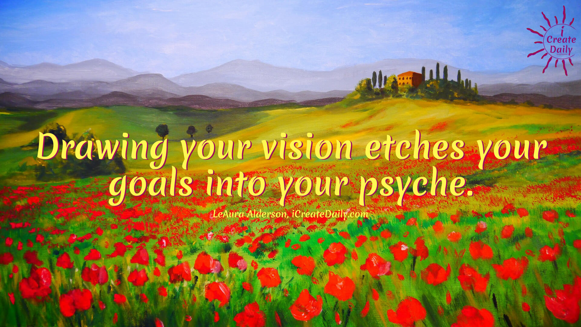 If you're a visual artist, you have the advantage of drawing or painting your vision board. This is a great way to help etch your goals into your psyche. #GoalsQuote #VisioningTools #VisioningQuotes #Visionboards