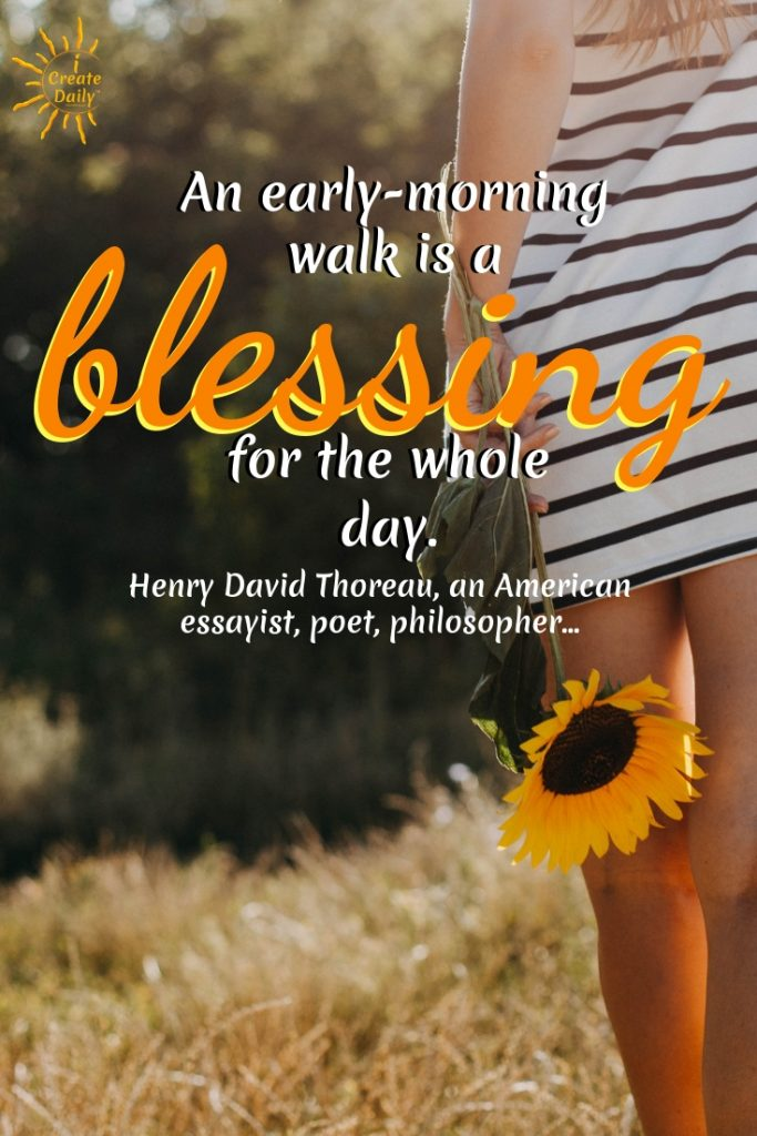 An early-morning walk is a blessing for the whole day. ~Henry David Thoreau, an American essayist, poet, philosopher #GoodMorningQuotes #MorningQuotes #Motivation #Success #Encouragement #Inspiration #Positivity  #Sunrise #Hope #Encouragement #Gifts #TheDayIsTheWay #iCreateDaily #Creativity #Positivity #Personal Development #ThoreauQuote #HenryDavidThoreau
