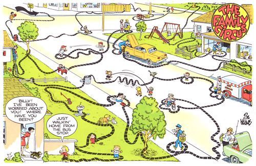 """THE FAMILY CIRCUS - BILLY'S WAY HOME. """"Billy's map"""" from the famed Family Circus comic strip. I'm guessing you have days that like too... chances are, we all do.#TheFamilyCircus #MorningLark #NightOwl #BillysMap #ADHD"""