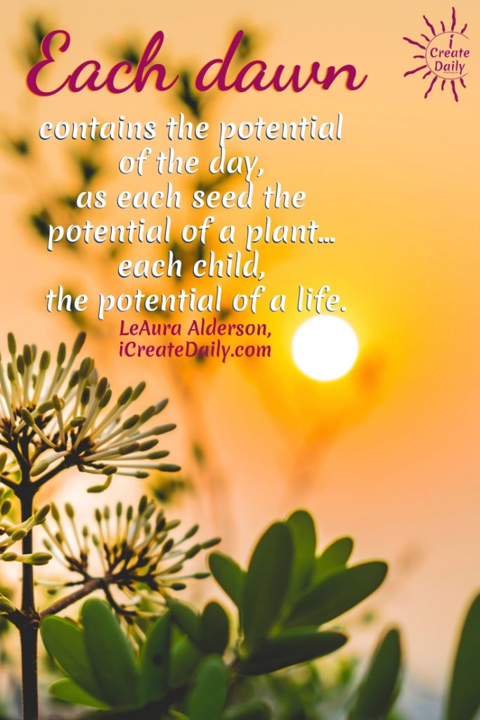 Good Morning Quotes and Affirmations. Each dawn contains the potential of the day, as each seed the potential of a plant... each child, the potential of a life. ~LeAura Alderson, iCreateDaily.com  #GoodMorningQuotes #MorningQuotes #Positivity #Inspiration #Encouragement