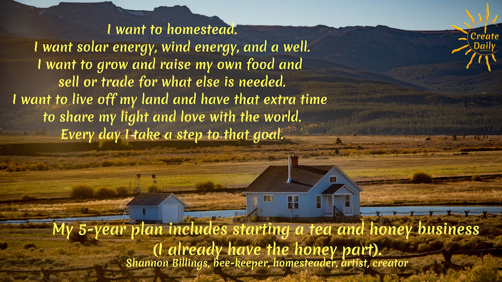 I want to homestead. Build a solar energy, wind energy, and a well. Grow and raise my own food and sell or trade for what else is needed. Live off my land and have that extra time to share my light and love with the world (looks like that's going to be in novel form).  Every day I take a step to that goal.  My 5-year plan includes starting a tea and honey business (I already have the honey part).  Make custom teas for picky customers, nationally and hopefully globally (I do dream big at times).  My FB page, Shannon's Sweet Tooth Farm is the start of what I aspire to be an interactive, client-based farm. Where I offer basic and custom blended teas of herbs, flowers and dried fruit blends. #Relationship #Life #Quotes #Fitness #List #Setting #Personal #Future #BulletJournal #Body #Career #Couple #Travel #Summer #Monthly #BestFriend #House #Ideas #Family #Money #Smart #School #Health #Daily #Board #Weekly #Friendship #NewYear #Financial