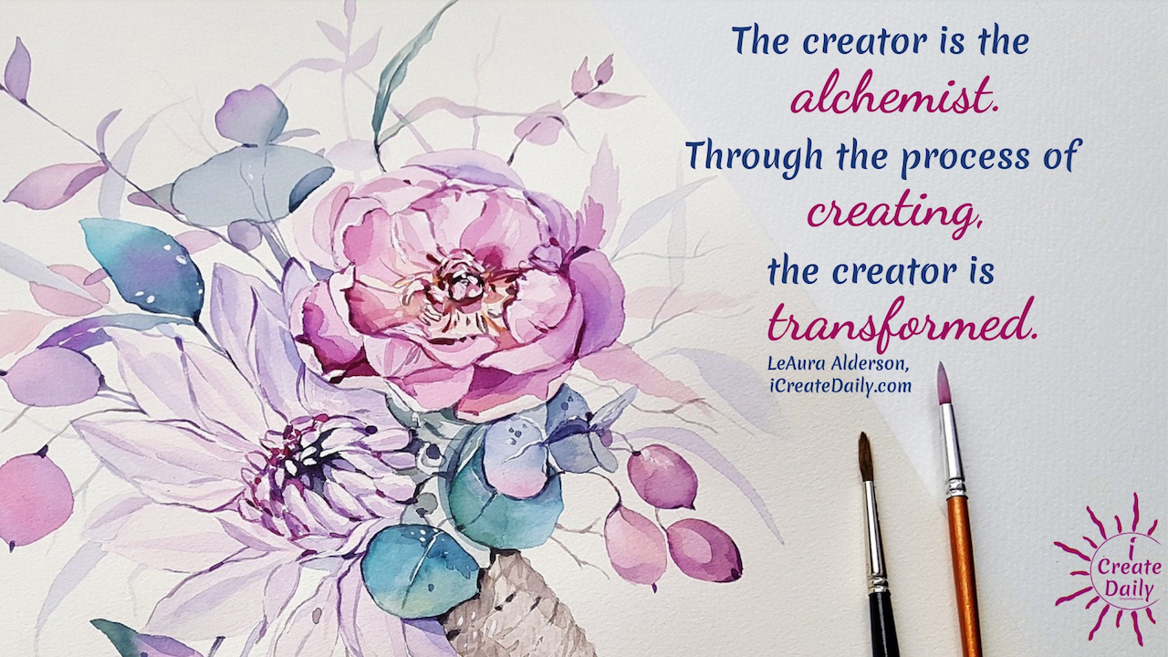 Life Alchemy - The creator is the alchemist. Through the process of creating, the creator is transformed. #LifeAlchemy #DreamsQuote #Transformation #Alchemist #Inspiration #Creativity