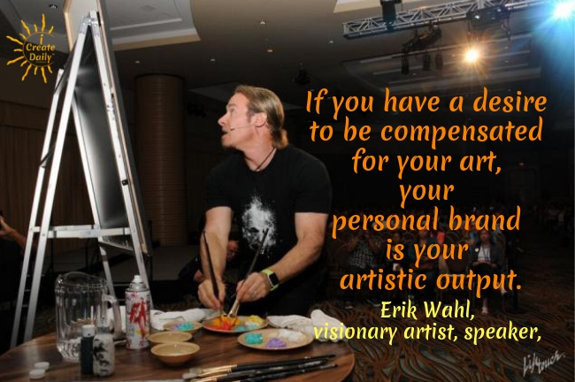 This next artist serves mostly corporate audiences. So his artist bio—at first appearance—is less personal. However Erik's collection of writing, quotes and videos take you through a delightful and intriguing visual story that leaves you wanting more. #ErikWahl #CorporateArtist #ArtistBios #ArtistStories #Personal Branding #iCreateDaily #VisualArtistPerformance