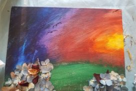 Dried Flowers and Sunset Mixed Media Painting