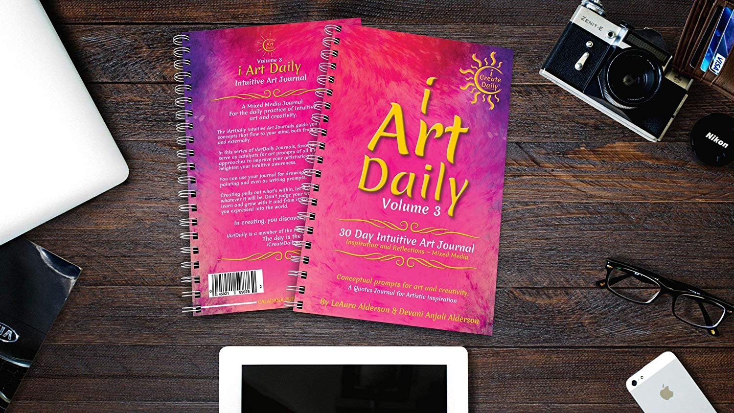 iArtDaily 30 Day Intuitive Art Journal - Magenta Sunset
