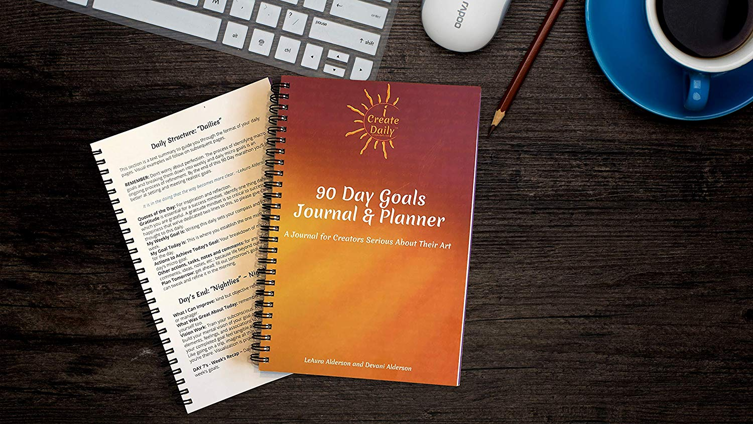 iCreateDaily 90 Day Goal Journal - Maroon