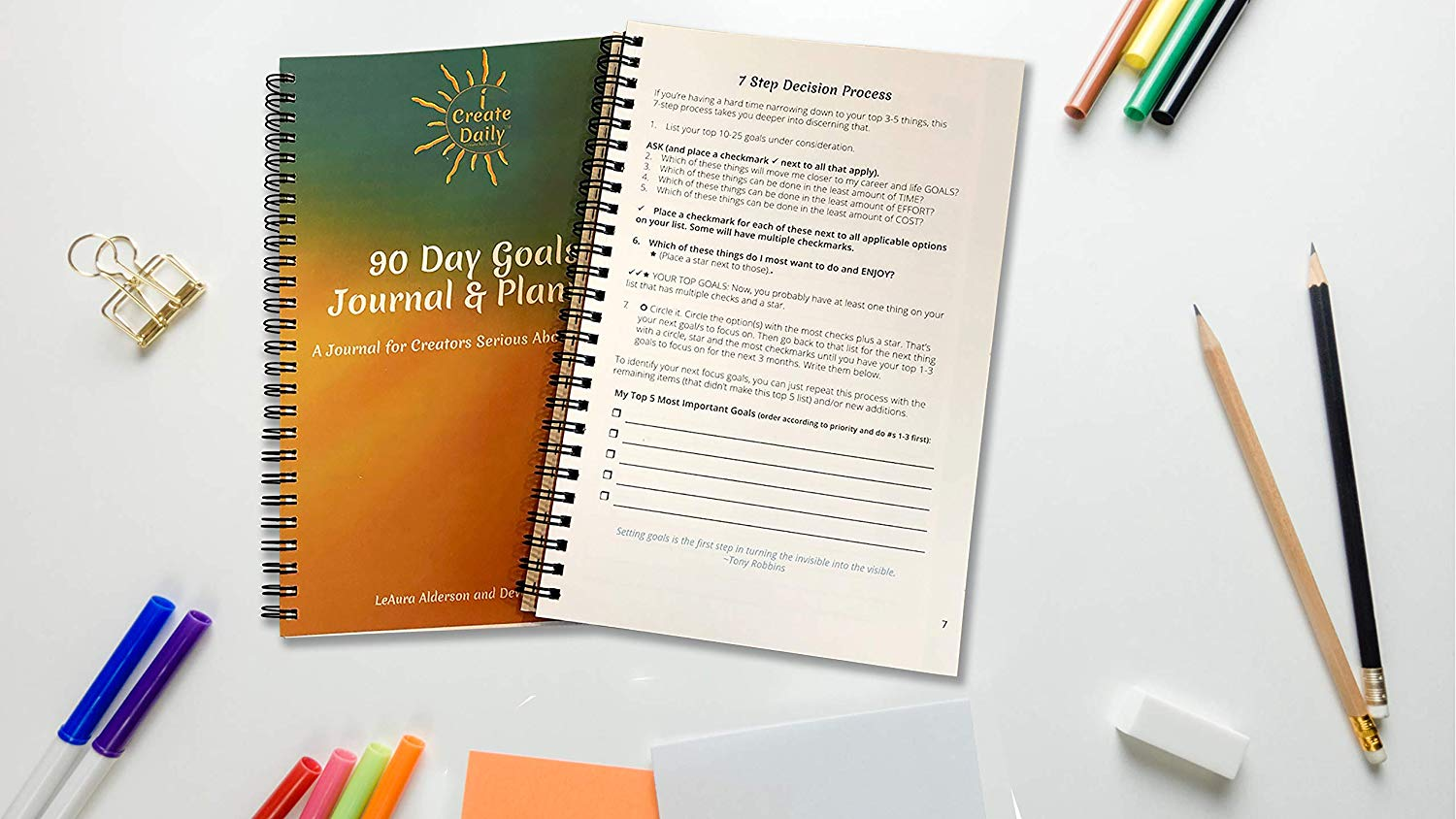 iCreateDaily 90 Day Goal Journal -Teal