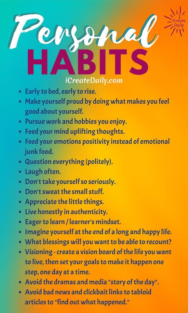 GOOD PERSONAL HABITS LIST. #PersonalHabitsList #LifeGoals #GoodHabits #Motivation #PersonalDevelopment #HabitsQuotes #GoodHabitsList