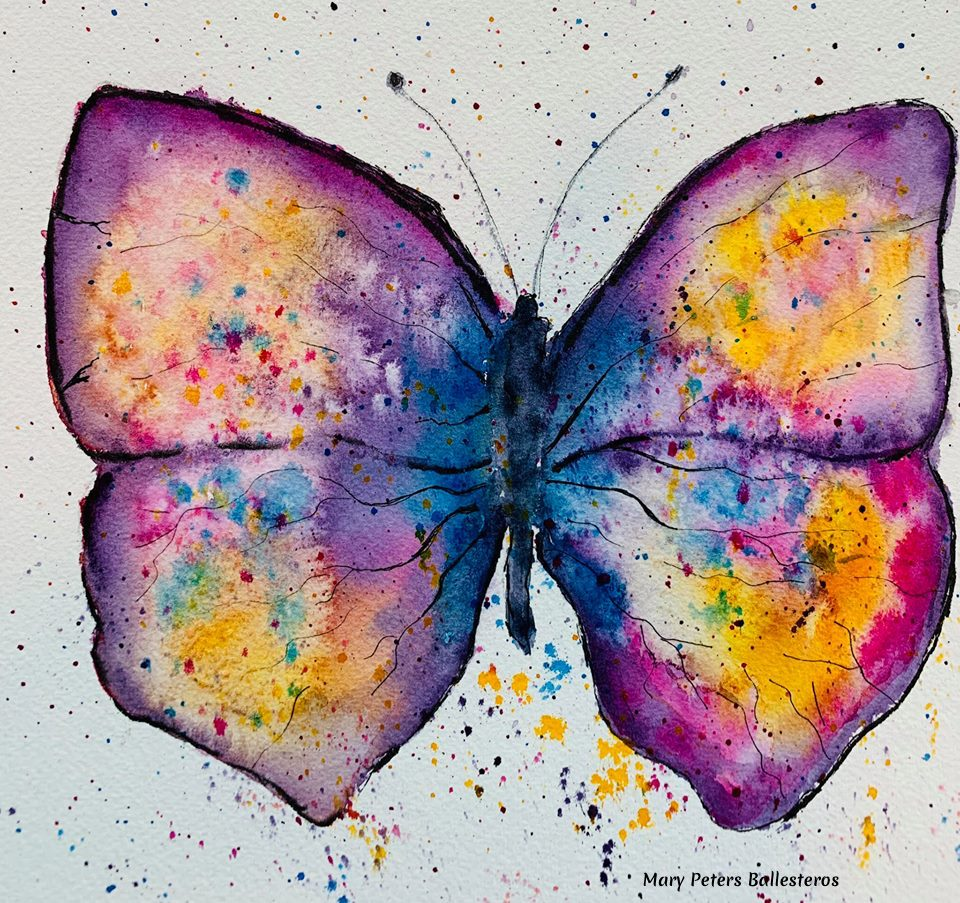 watercolor butterfly by mary Peters Ballesteros