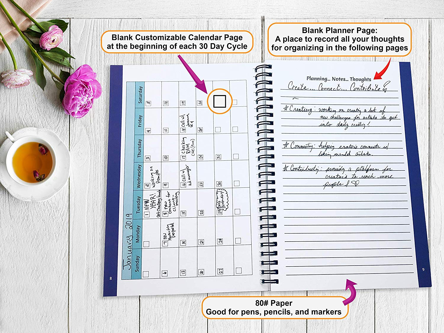 Calander & Notes Pages: These pages are added at the beginning of each month during the 90 Day Goals process. #GoalJournal #GoalPlanner #BestSelf #90DayJournals #90DayGoals #AchieveYourGoals