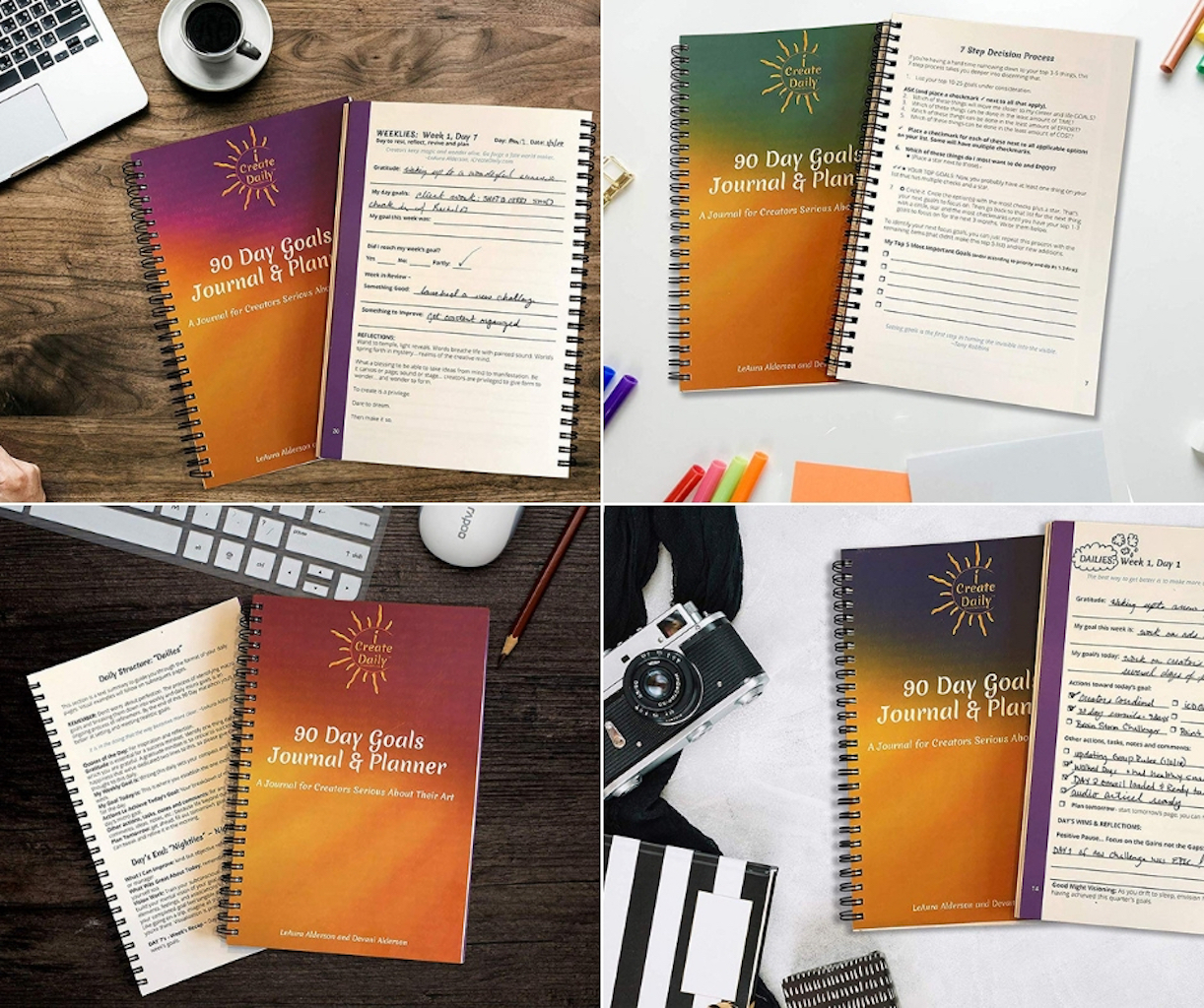 The iCreateDaily90 Day Goals Planner & Journal is your guide to daily doing that will get your goals done! #GoalJournal #GoalPlanner #BestSelf #90DayJournals #90DayGoals #AchieveYourGoals