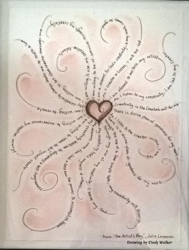 Cindy Walker created this wonderful drawing using quotes from Julia Cameron, author of The Artists Way.  A love flower illustration make up of quotes. #JuliaCameronQuotes #CindyWalkerArtist #ArtQuotes