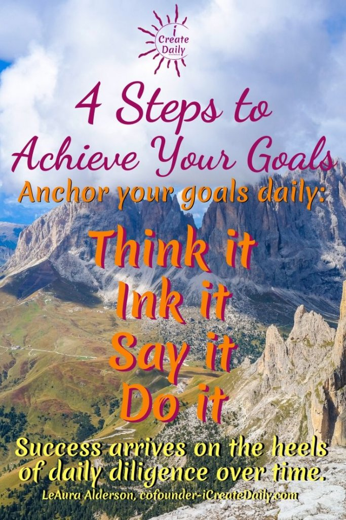 Goals are about manifestation. Whether you're building a business, coding a game, painting, or writing, you're creating something that hasn't been created before. Even one word, one sentence in your manuscript or article… one brush stroke on the canvas, one staff of music written is creating something that wasn't there before. #ThinkIt #InkIt #Goals #SuccessQuote #StepsToAchieveYourGoals #AchieveYourGoals #GoalSetting SettingGoals #Mindset #CreateDaily #TheDayIsTheWay
