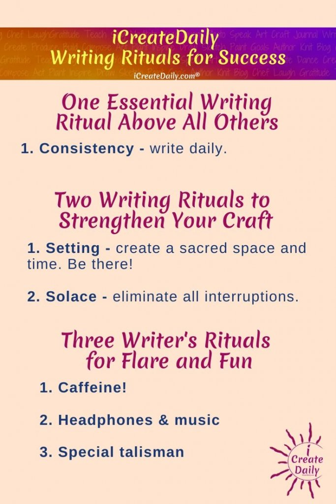 WRITING RITUALS - 3 STEPS FOR SUCCESS. #WritingRituals #WritersTips #WritingInspiration #WritingSuccess #iWriteDaily