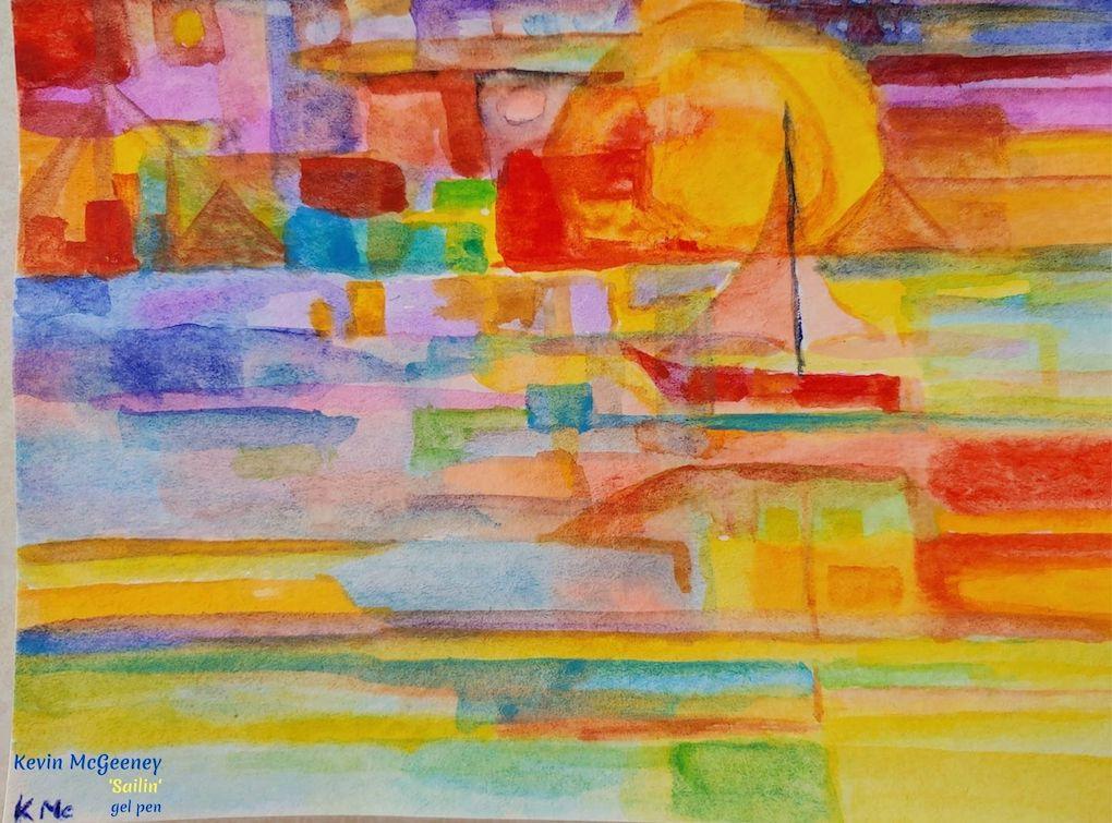 Kevin McGeeny Art - 'Sailin' - Colorful Abstract Art  #AbstractArt #BrightArt #CheerfulArt #SailingArt #SailboatArt #iCreateDaily #KevinMcGeeneyArtist