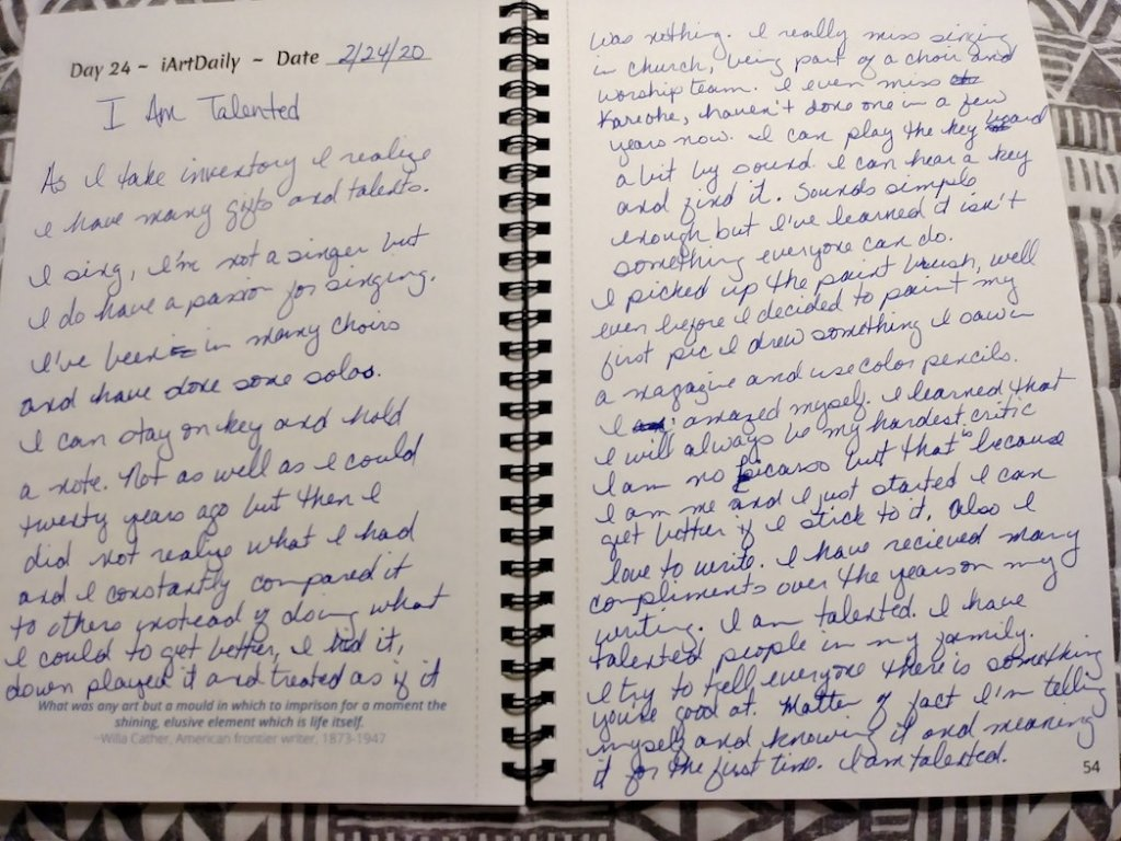 Empowering journaling by La Nita Glass - I am Talented. #Journaling #SelfEmpowerment #IAmStatements