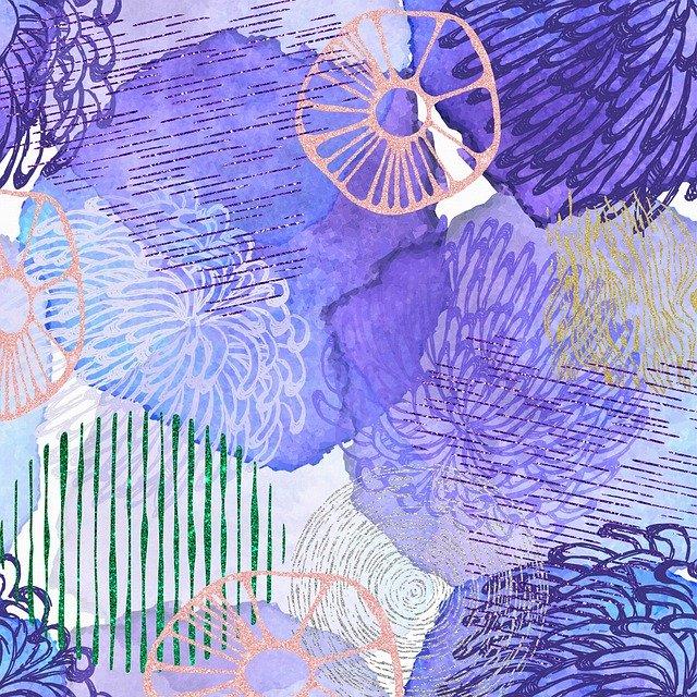 PURPLE FLOWER DRAWINGS - Abstract Purple Flowers by Annalise Batista from Pixabay #PurpleFlowers #PurpleFlowerDrawings #ArtPrompt  #iCreateDaily #iArtDaily