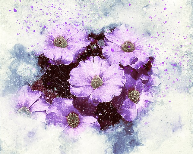 """PURPLE FLOWER DRAWINGS - Abstract Purple Flowers by """"Ractapopulous"""" - JL G from Pixabay #PurpleFlowers #ArtPrompt #PurpleFlowerDrawings #DigitalPurpleFlowers #Ractapopulous  #iCreateDaily #iArtDaily"""