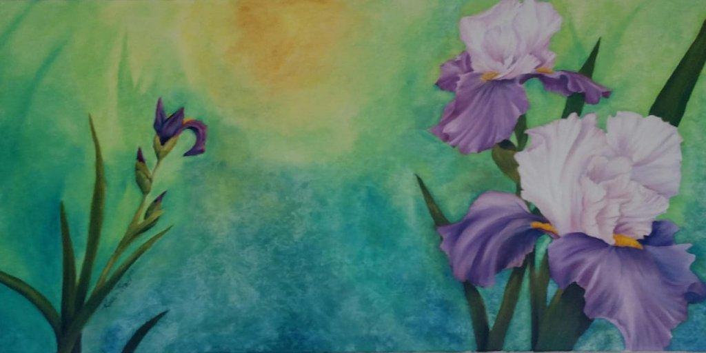 PURPLE FLOWERS PAINTING - Purple Irises in oils on canvas - by Karen Black - Artist, Art Instructor-Studio K,  PURPLE FLOWER DRAWINGS - #PurpleFlowers #ArtPrompt #PurpleFlowerDrawings #DigitalPurpleFlowers #SharpieDrawings #SusannaHolman  #iCreateDaily #iArtDaily