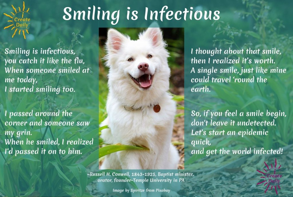 Smiling is Infectious poem-Smile Poem-Russell Conwell-iCreateDaily.com