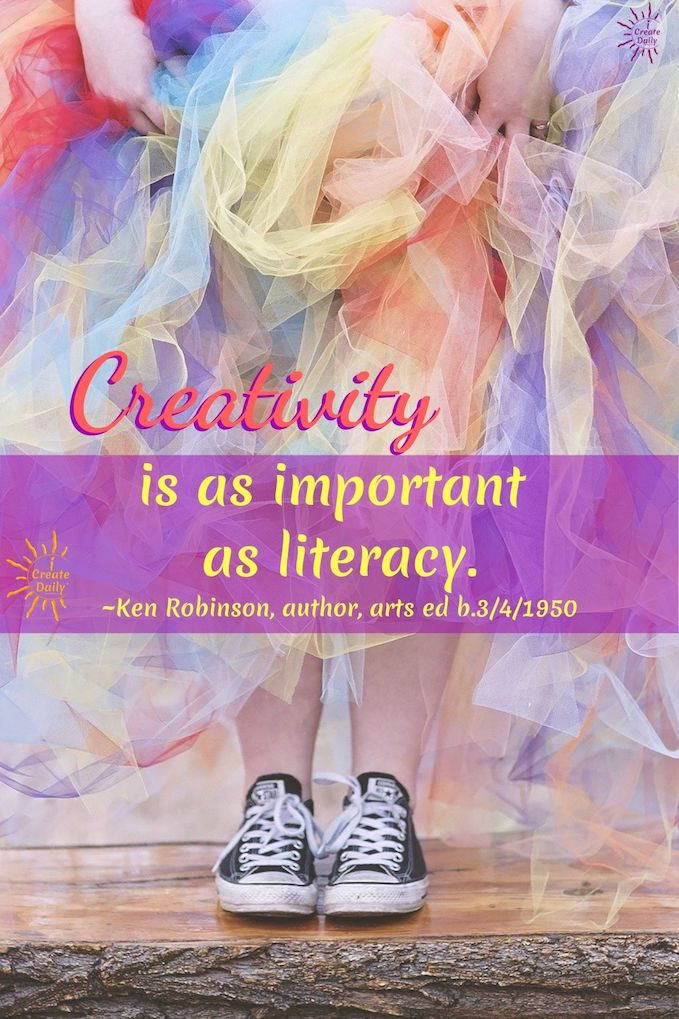 Ken Robinson Quote: Creativity is as important as literacy. ~Ken Robinson, author, speaker, arts education advisor, b.3/4/1950 #KenRobinsonQuote #CreativityQuote #ArtIsImportant #WeNeedTheArts #TheArts #iCreateDaily #PersonalDevelopment