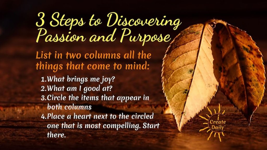 Some orienting questions to keep in mind as you work on discovering what you're passionate about. 3 Steps to Discovering Passion and Purpose. #Purpose #Passion #WhatAreyouPassionateAbout #JoyQuote #PurposeQuote