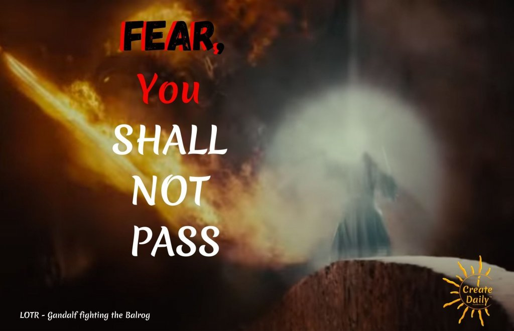 """GANDALF QUOTE - FEAR QUOTE: """"Fear, 'YOU SHALL NOT PASS!!!'""""#GandalfQuote #FearQuote #YouShallNotPassQuote #LOTRquote #LordOfTheRingsQuote #Balrgo #GandalfBalrog"""