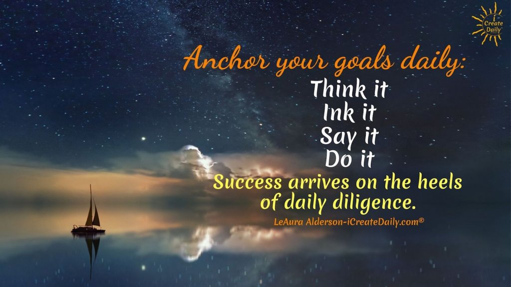 HOW TO SET A GOAL: Whether it's a career change, an art show, writing a novel or publishing your poetry, every task is broken down into steps as ingredients for the recipe for success of whatever your endeavor. #HowToSetAGoal #GoalSetting #QuarterlyGoals #MonthlyGoals #WeeklyGoals #GoalsJournal #GoalsPlanning #iCreateDaily