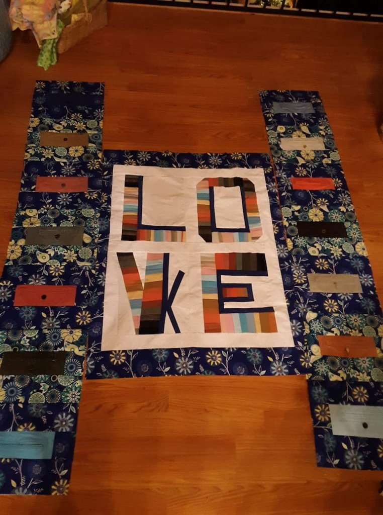 CUSTOM QUILTER - Donna Sheerin Gillis:I am working on a Texture of Life Quilt. Do you see 2 words? The sides have all the pockets from pants and the words are made from pants. Work in Process but I had to share.~Seamsundone Donna Sheerin Gillis#iCreateDaily #ArtistBios #ArtDescription #ArtistDescription #ArtBios #ArtLabels #ArtStories #SeamsundoneDonnaSheerinGillis #Quilting #CustomQuilts