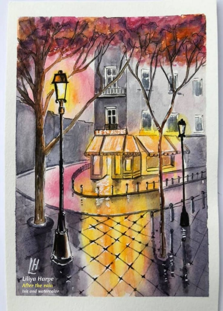 Fall Art - 'After the Rain', ink and watercolor by Liliya Harpe. #FallArt #FallPainting #RainArt #LiliyaHarpeArtist #ArtDescriptions #iCreateDaily #WaterColor