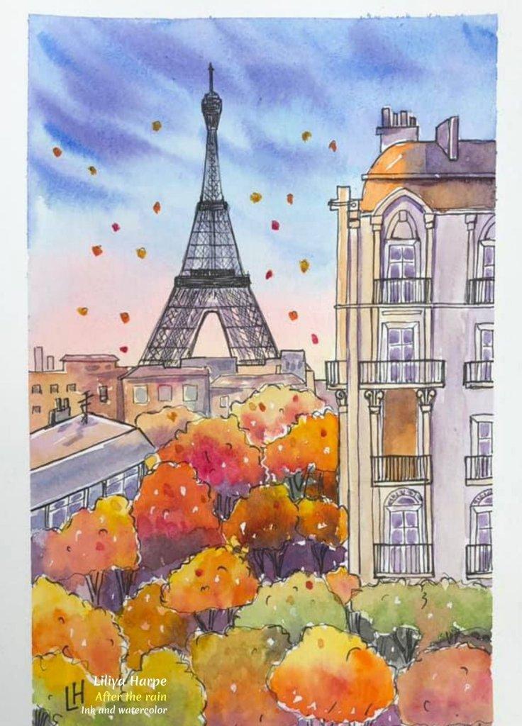 Fall Art - 'After the Rain', ink and watercolor by Liliya Harpe.#FallArt #FallPainting #RainArt #LiliyaHarpeArtist #ArtDescriptions #iCreateDaily #WaterColor