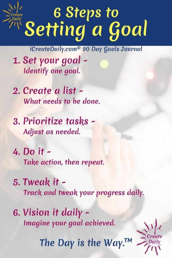 SETTING GOALS: 6 Steps to setting a goal; 6 steps to setting New Years goals #SetGoals #SetNewYearsGoals #Goalsetting #Resolutions #HowToSetGoals #NewYearsResolution #iCreateDaily