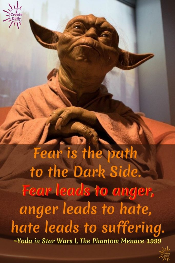 Fear is the path to the Dark Side. Fear leads to anger, anger leads to hate, hate leads to suffering. ~Yoda in Star Wars I, The Phantom Menace 1999
