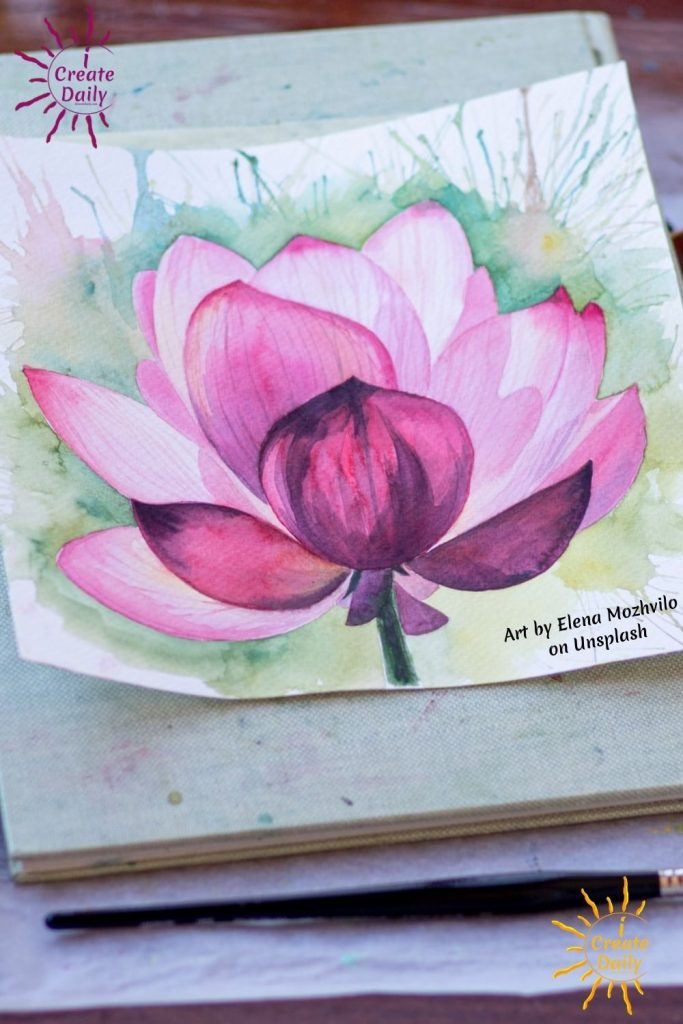 PURPLE FLOWERS - Purple Pink Water Lily Flowers watercolor painting, Photo by Elena Mozhvilo on Unsplash #PurpleFlowers #WatercolorArt #PurpleFlowerDrawings   #iCreateDaily #iArtDaily