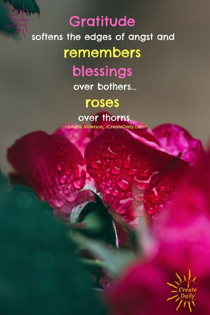 """GRATITUDE QUOTE """"Gratitude softens the edges of angst and remembers blessings over bothers... roses over thorns."""" ~LeAura Alderson, writer, editor, creator iCreateDaily.com® #Gratitude #GratitudeQuote #Positivity #iCreateDaily #RosesQuote #BlessingsQuote #FocusOnBlessings"""