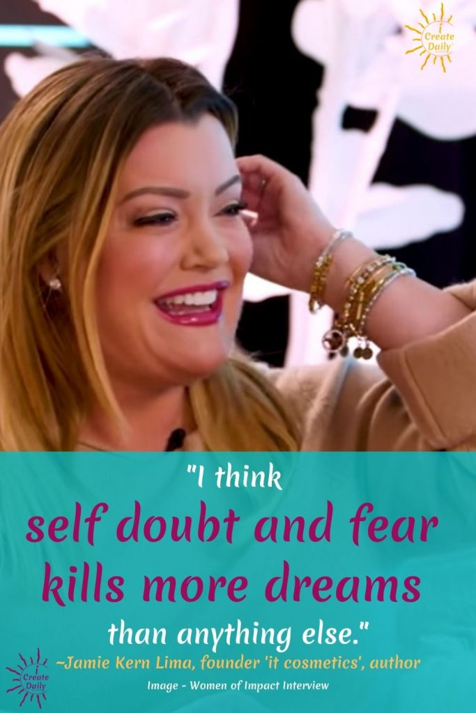 "DREAMS QUOTE by Jamie Kern Lima. ""Self doubt and fear kills more dreams..."":#SelfDoubt #Fear #DoubtQuote #FearQuote #JamieKernLimaQuote #iCreateDaily"