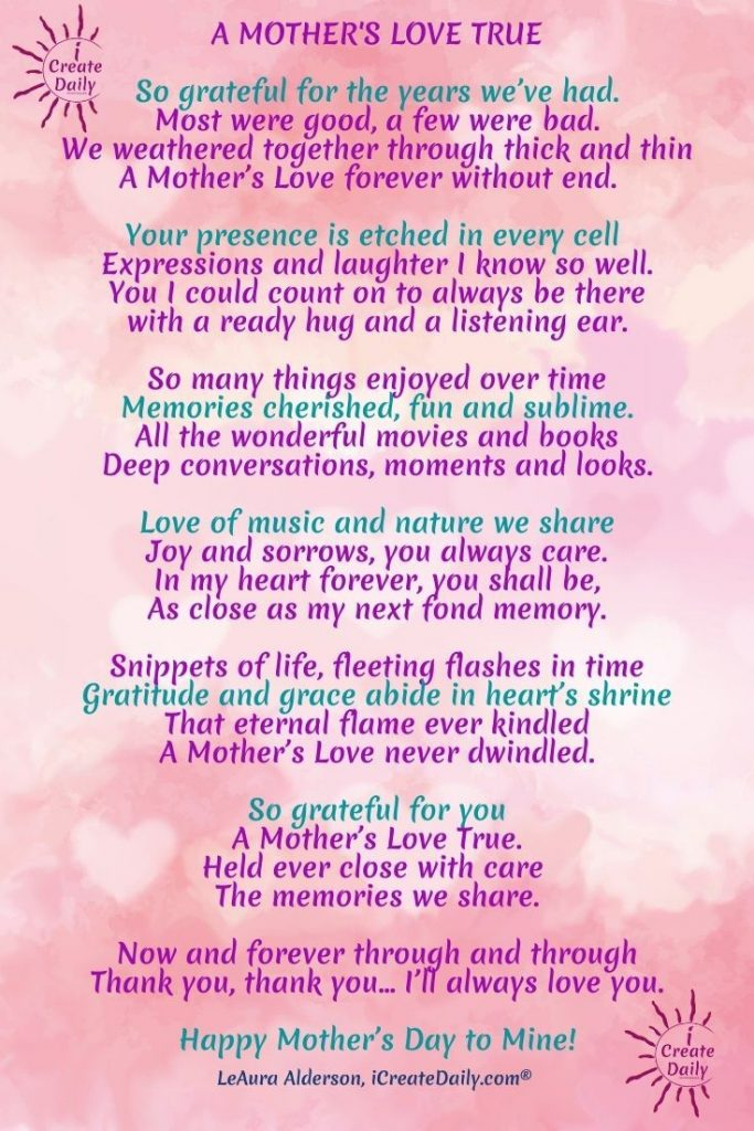 Mother's Day Poems, Mother's Day Memes, Sweet Mother's Day Poems, Happy Mother's Day Poems, iCreateDaily.com