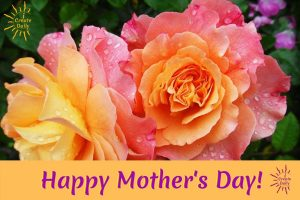 Happy Mother's Day greeting with beautiful sunset roses, iCreateDaily.com