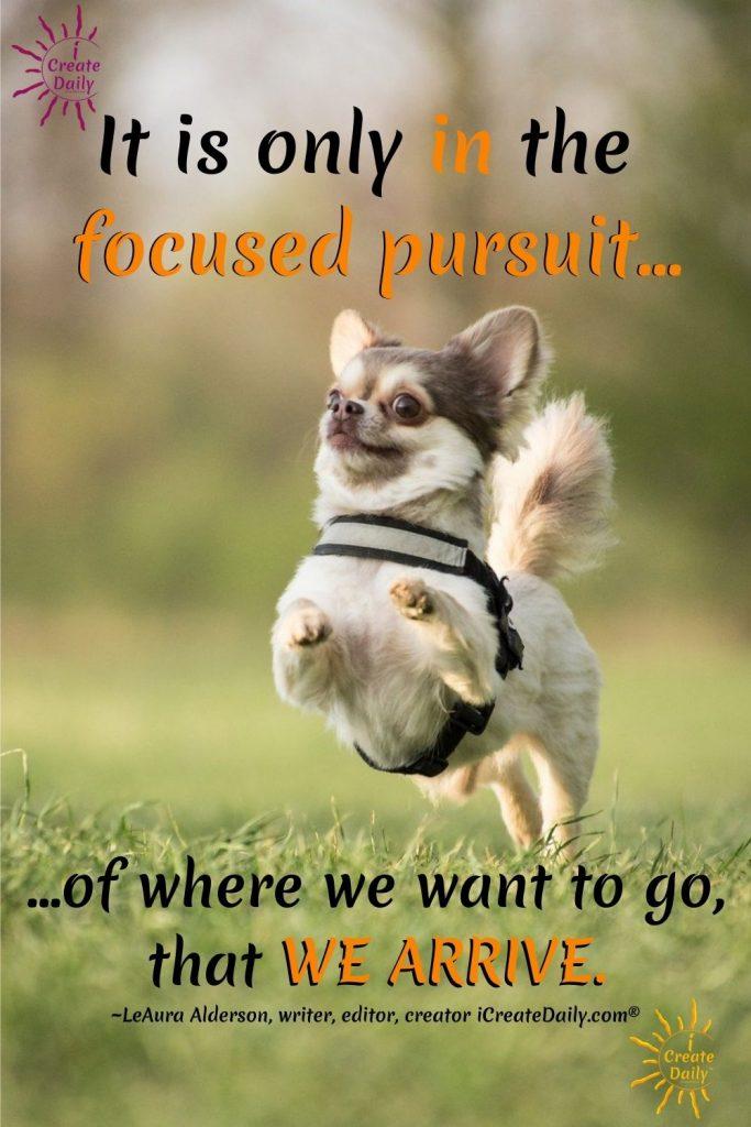 IT'S THE FOCUSED PURSUIT. In the focused pursuit we arrive-What We Focus On-iCreateDaily.com