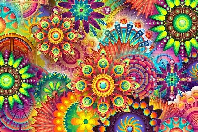 Beautiful, colorful Mandala art montage