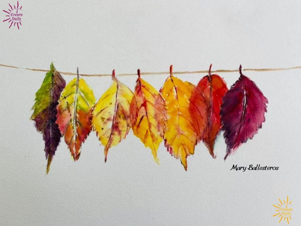 beautiful Autumn leaves-painting-hanging on a line by artist Mary Ballesteros